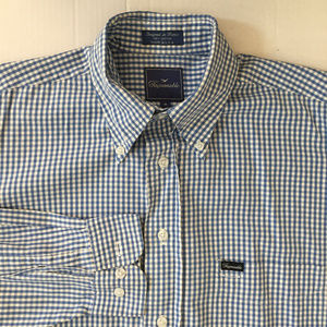 Faconnable Men Shirt Blue/White Size:M Made in USA